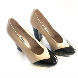 Miu Miu Two Tone Patent Leather Pumps Heels
